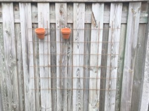 potjes ophangen plantenrek aan de schutting mamazetkoers